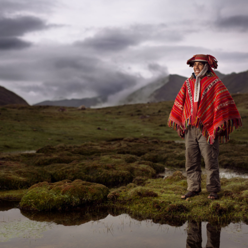 Augustin, a Peruvianfarmer living at 4200 meters. Shot with Broncolor HS flash technology.