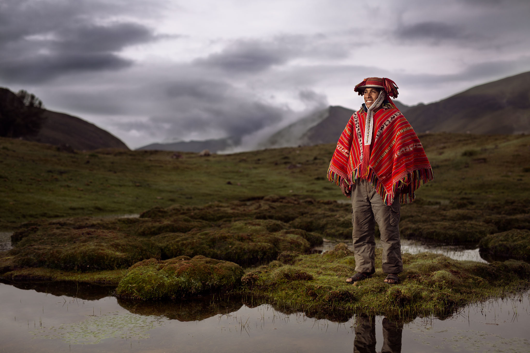 Augustin, a Peruvian farmer living at 4200 meters. Shot with Broncolor HS flash technology.